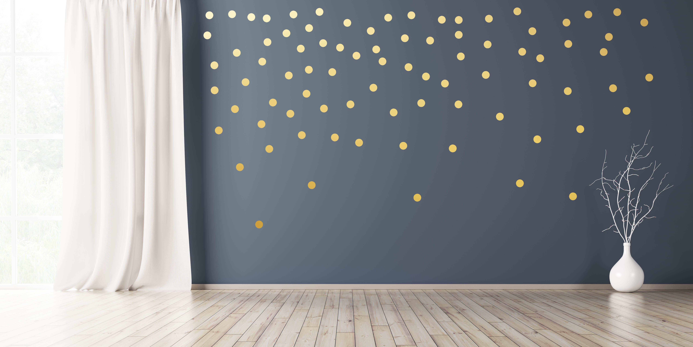 Wandtattoo Punkte 100 Stück x Ø 5cm selbstklebend in Silber Gold Kupfer Wandsticker Aufkleber Dots