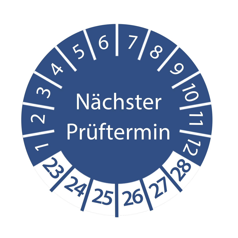 Prüfplakette nächster Prüftermin 2023 - 2028 ca. Ø 2-3 cm Blau