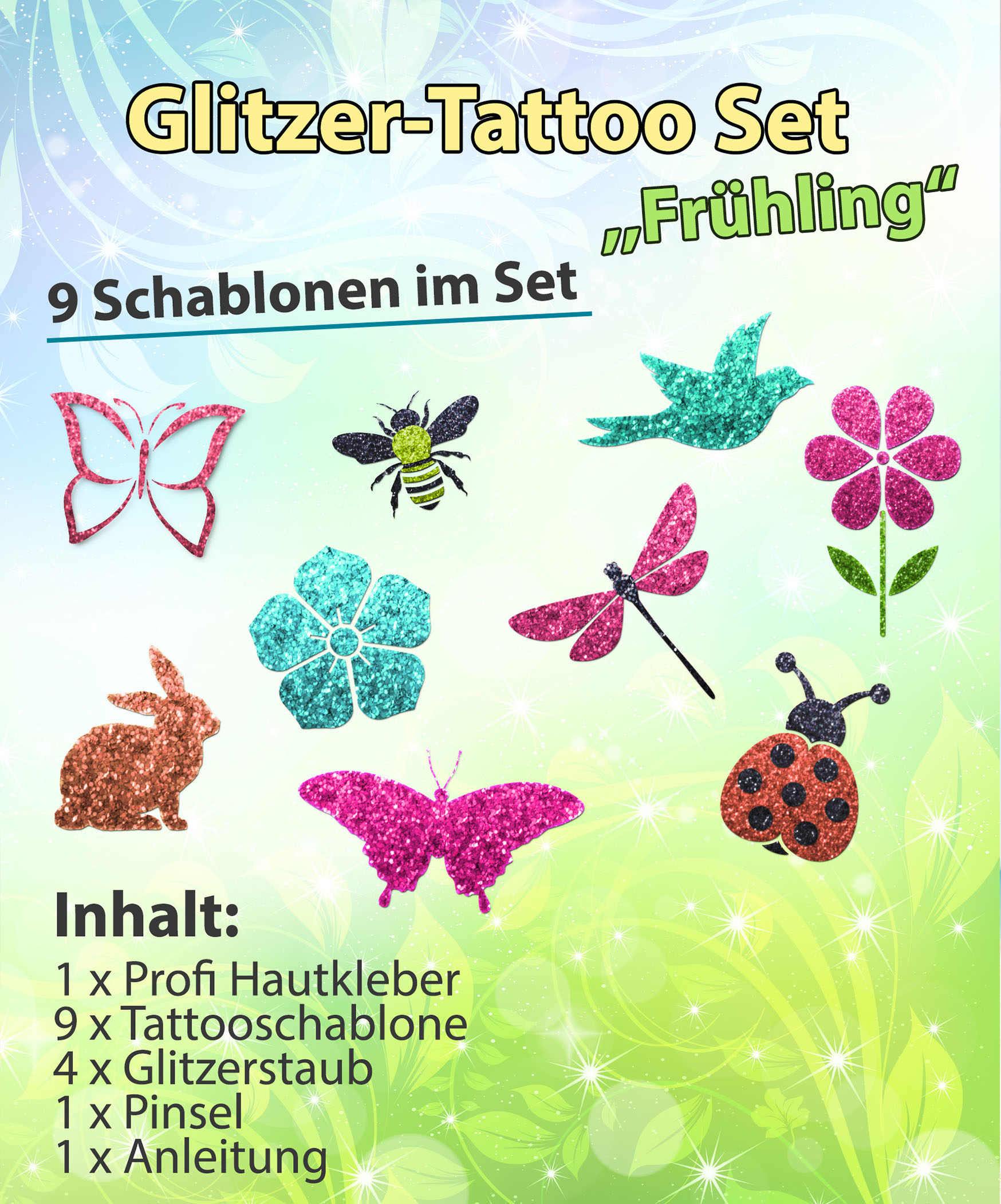 Glitzer Tattoo SET Kinder Frühling mit Hautkleber, 1 Pinsel, 4 Glitzer, 9 Schablonen Ostern