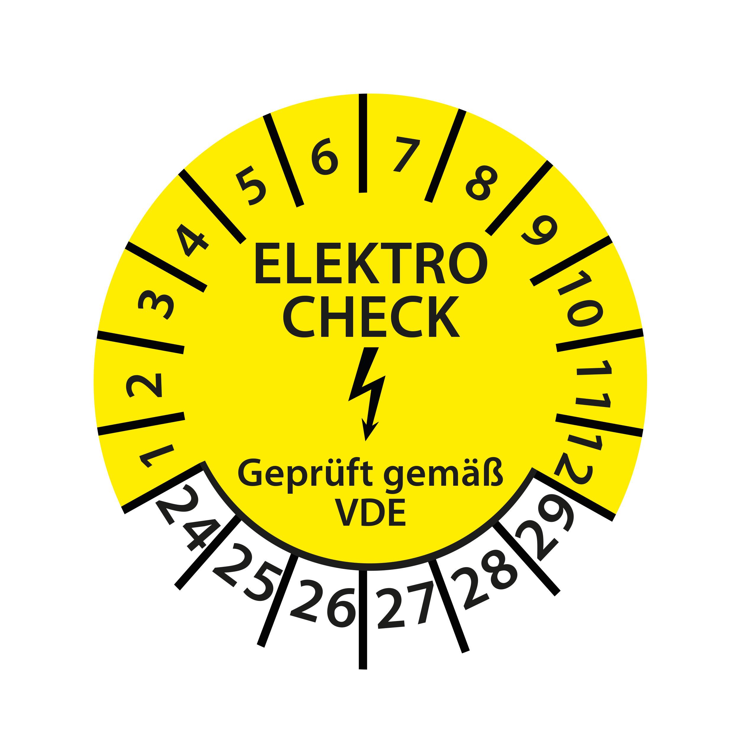 Prüfplakette Elektro Check geprüft gemäß VDE 2024-2029 Ø 30mm Rund Gelb Prüfetikett Prüfaufkleber