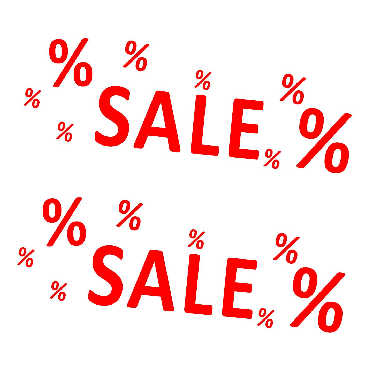 Aufkleber Sale % ROT 2 Stück verschiedene Größen Einzelhandel Schaufenster Ausverkauf Prozente