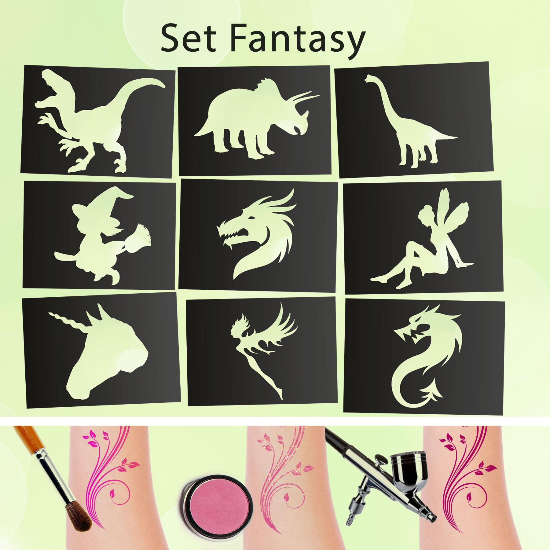 Tattoo Schablonen SET Fantasy (9 Stück) Selbstklebend Kinderschminken Airbrush