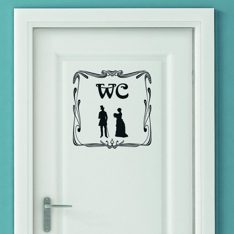 Aufkleber Türaufkleber Bad WC Old Mann Frau Toilette Fun Sticker in Schwarz oder Wunschfarbe