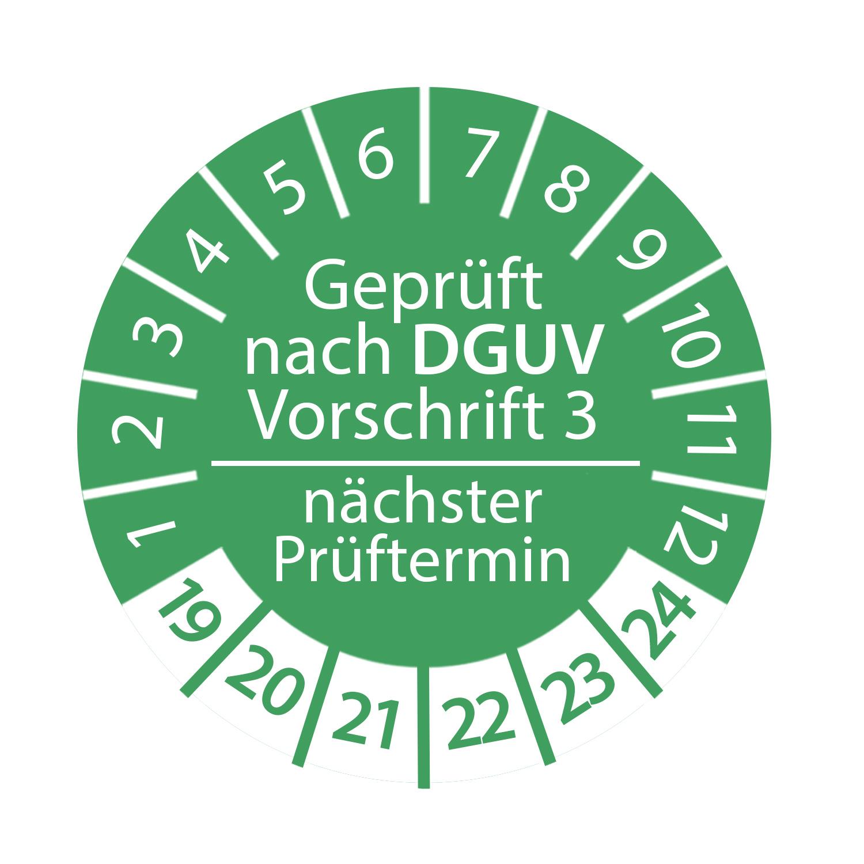 Prüfplakette DGUV Vorschrift 3 2019 - 2024 nächster Prüftermin 3cm rund Geprüft nach DGUV grün