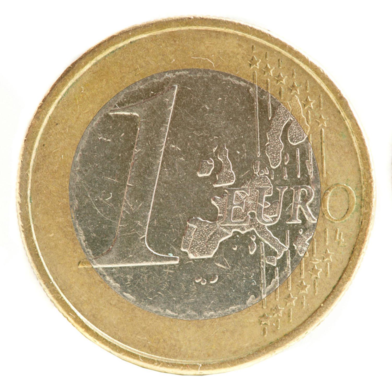 1 Euro Münzaufkleber- FUN Sticker Kleingeld rund ca. Ø 24 mm selbstklebend täuschend echt