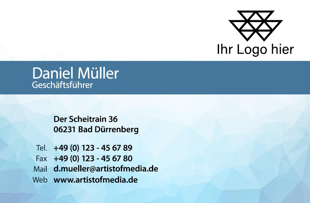 Visitenkarten individuell Fertiges Design Blau + Ihr Inhalt Fertig Business Karten 350g/qm 85 x 55mm