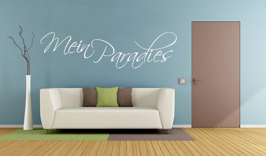 Wandtattoo Aufkleber - MEIN PARADIES in Weiss selbstklebend Deko Wohnzimmer Schlafzimmer