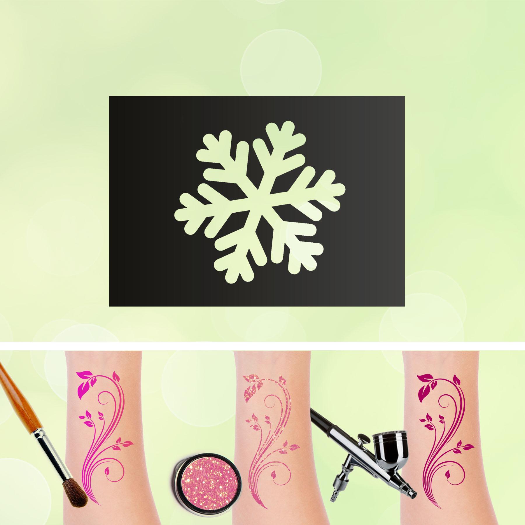 Tattoo Schablonen Schneeflocke Kinder Selbstklebend Kinderschminken Airbrush