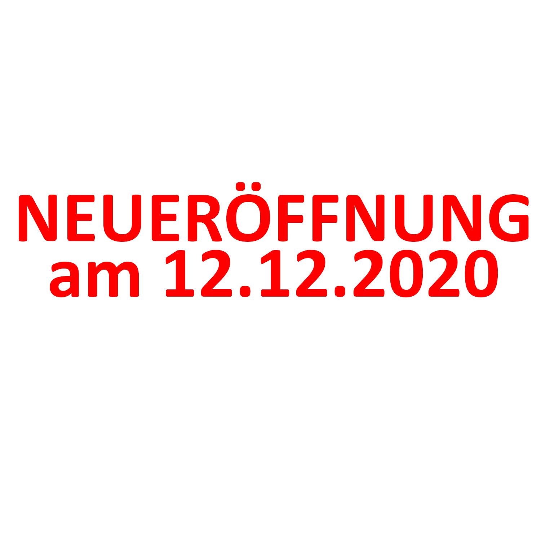 Aufkleber Neueröffnung mit Datum 2 Stück verschiedene Größen Einzelhandel Schaufenster Werbung Rot