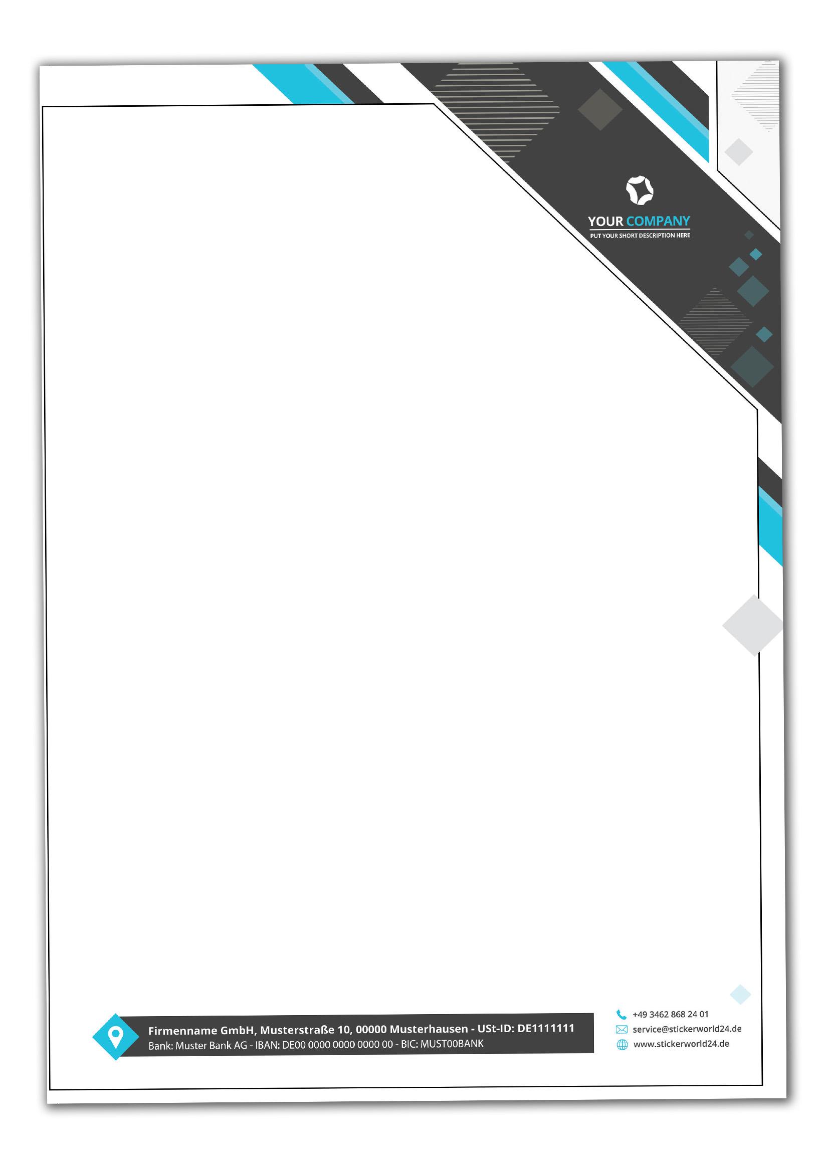 Briefpapier DIN-A4 Modern Design+Ihr Inhalt individuell einseitig bedruckt 4/0 Offsetpapier 90g/m²