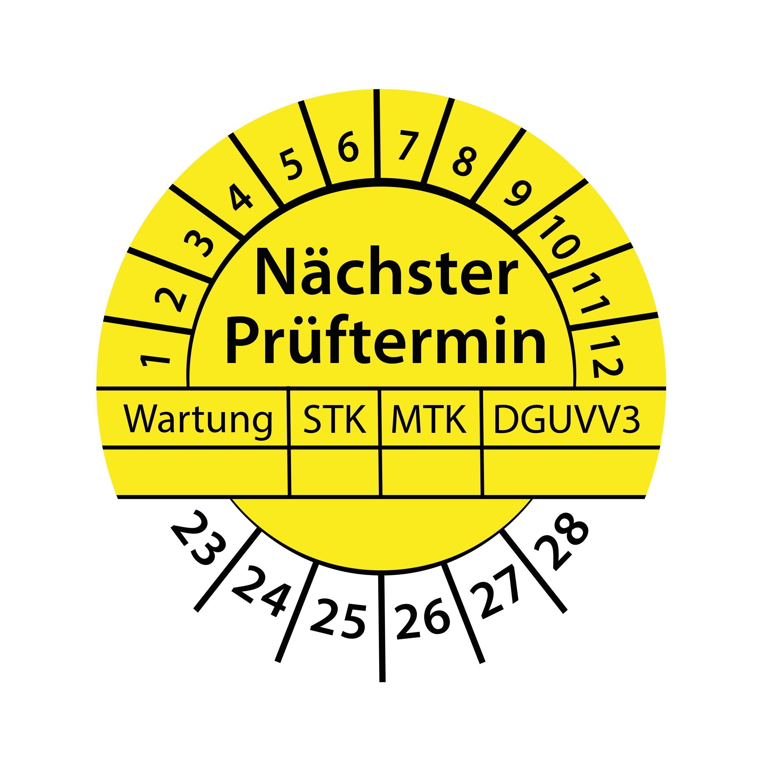 Prüfplakette Nächster Prüftermin Wartung STK MTK 2023-2028 Ø 30mm Rund Gelb / Blau Prüfetikett Prüfaufkleber