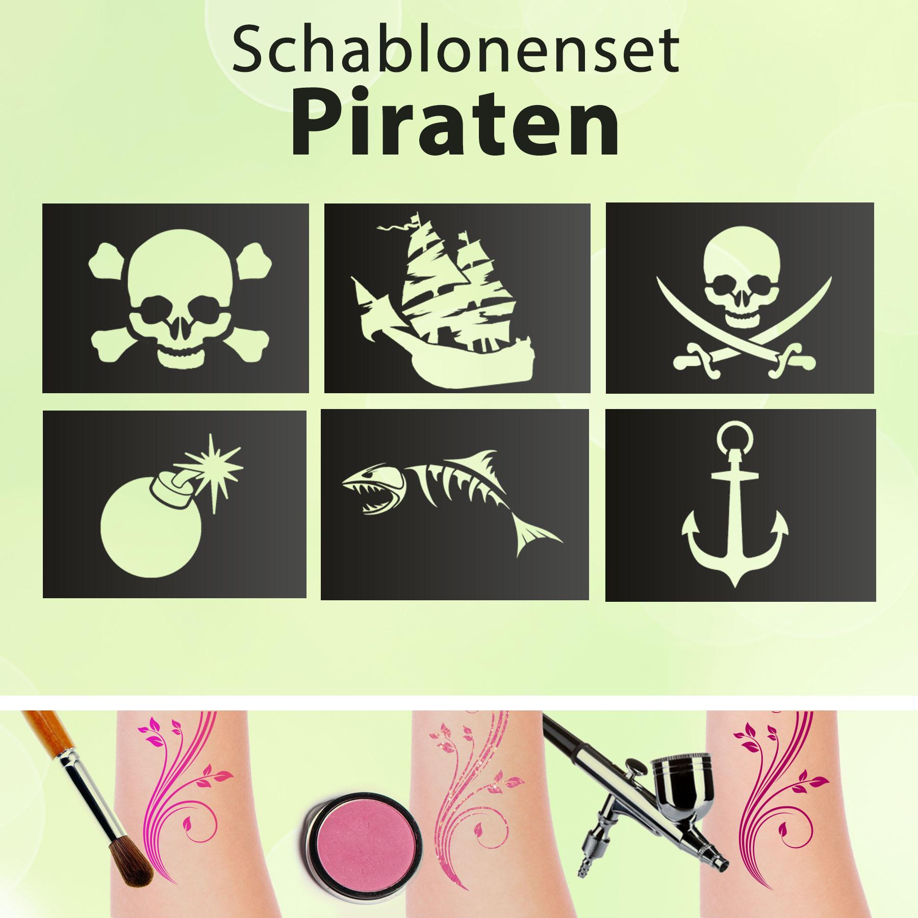 Glitzer Tattoo SET Kinder PIRATEN mit Hautkleber, 1 Pinsel, 3 Glitzer, 6 Schablonen