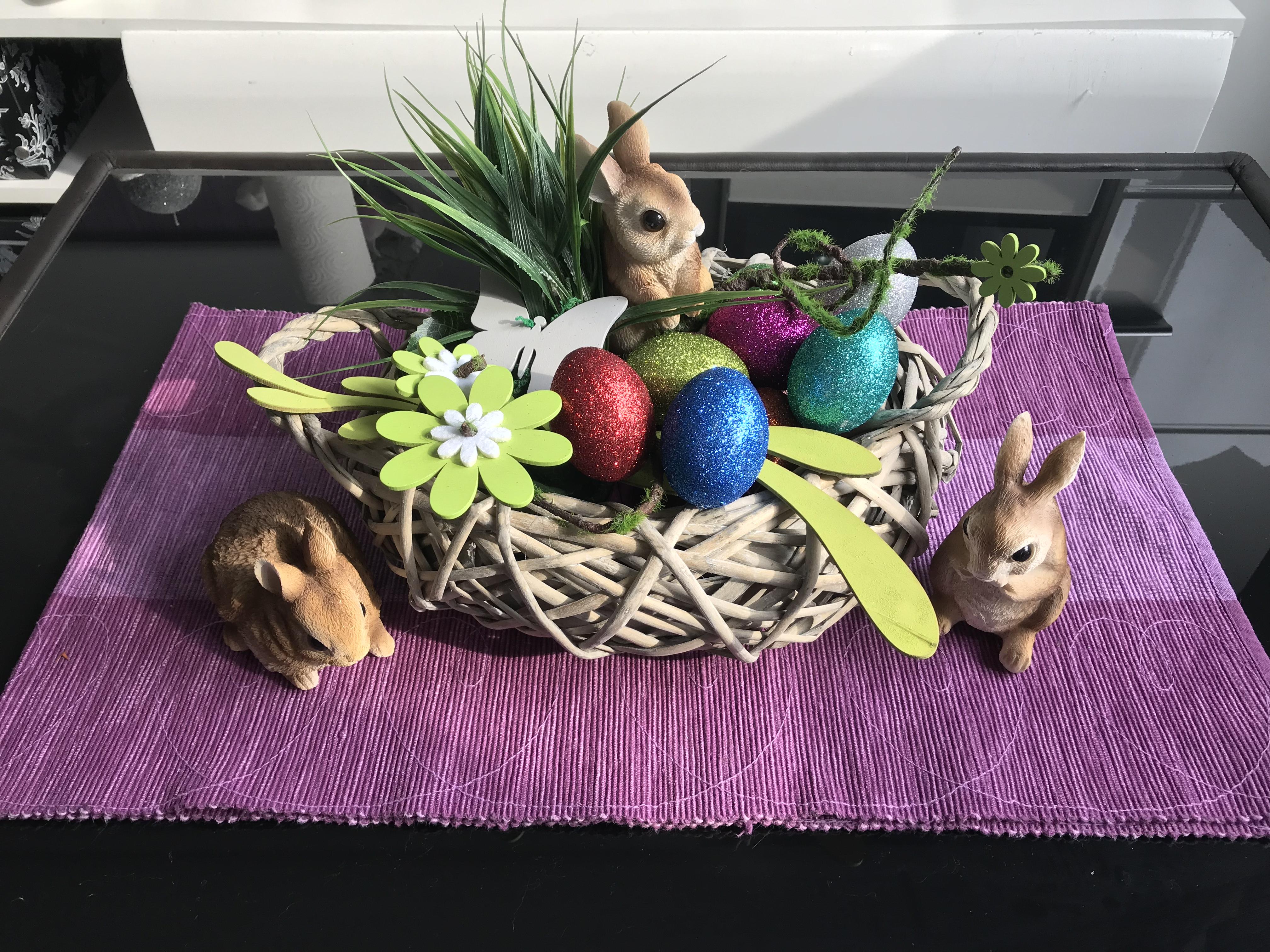 Bastelset Glitzer Eier Osterei mit Kleber,1 Pinsel,12 Glitzer,4 Holzstäbe Ostern DIY Basteln