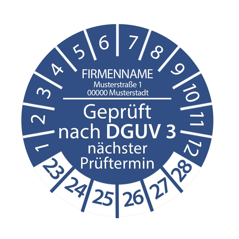 Prüfplakette Geprüft nach DGUV 3 mit Firmenname 2023 - 2028 auf Rolle, Ø 2-3cm Rund Blau Individuell