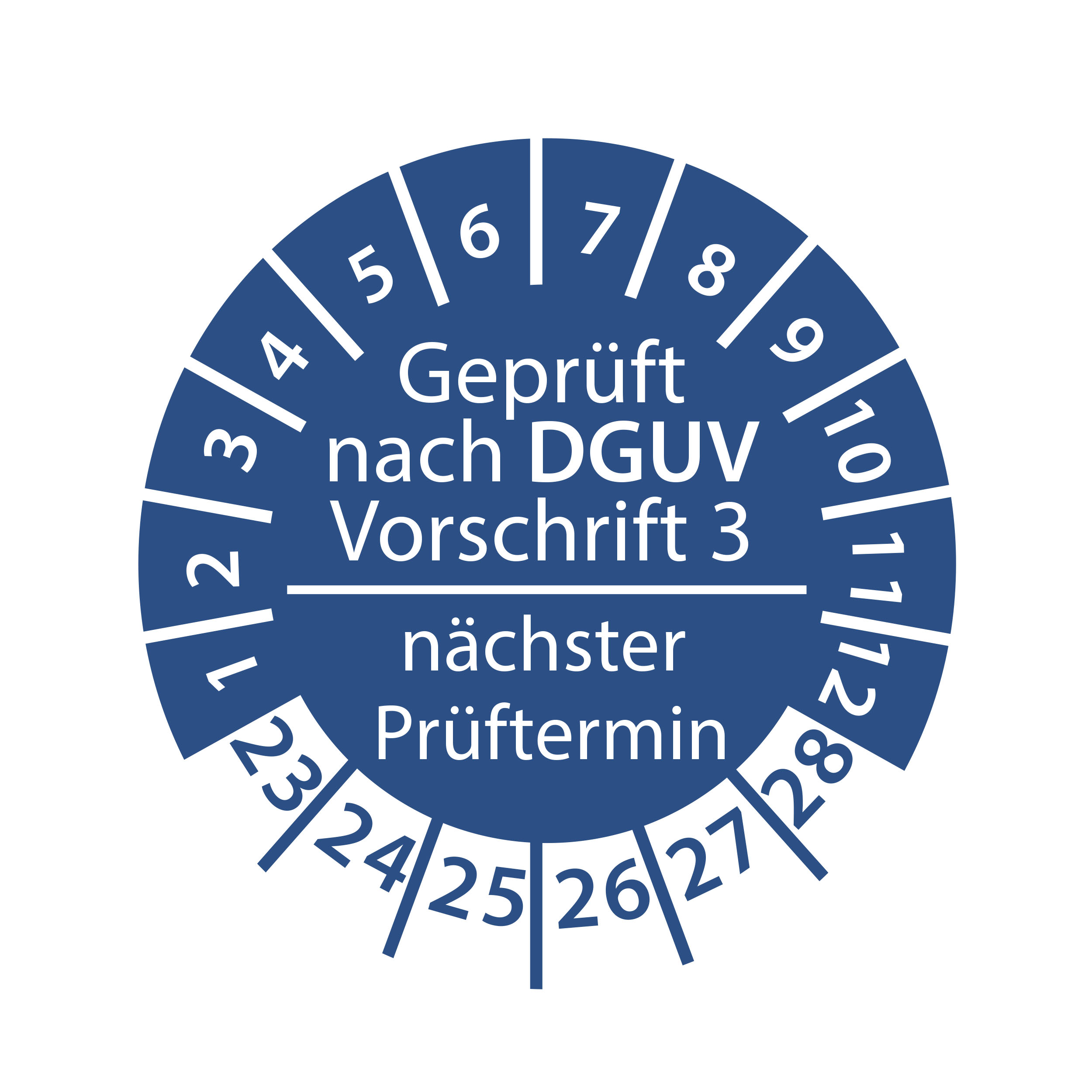 Prüfplakette geprüft nach DGUV Vorschrift 3 nächster Prüftermin 2023-2028 Ø 30mm Rund Gelb / Blau Prüfetikett Prüfaufkleber