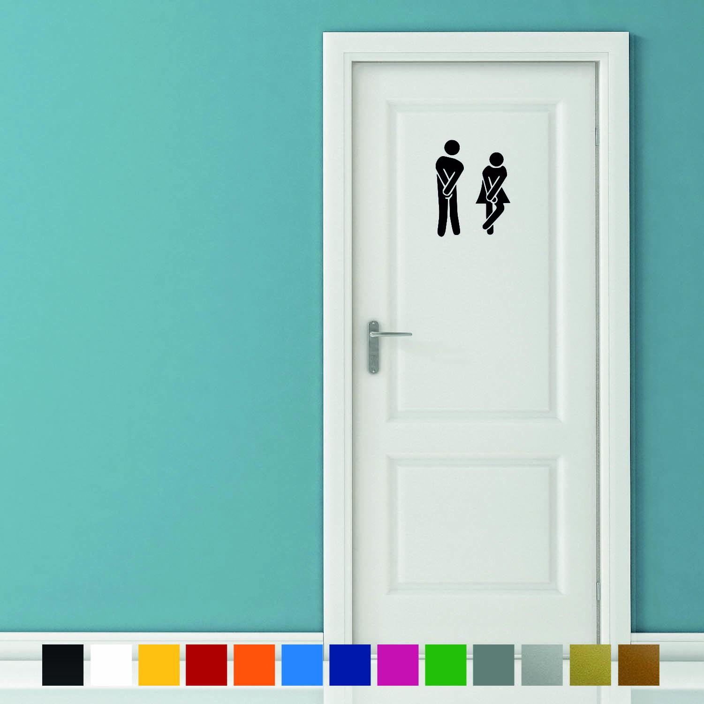 Aufkleber Türaufkleber Bad WC DRINGEND Mann Frau Toilette Fun Sticker in Schwarz oder Wunschfarbe