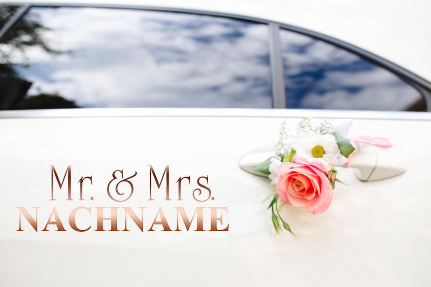 Aufkleber Hochzeit Auto Mr. & Mrs. mit Nachnamen für Autotür