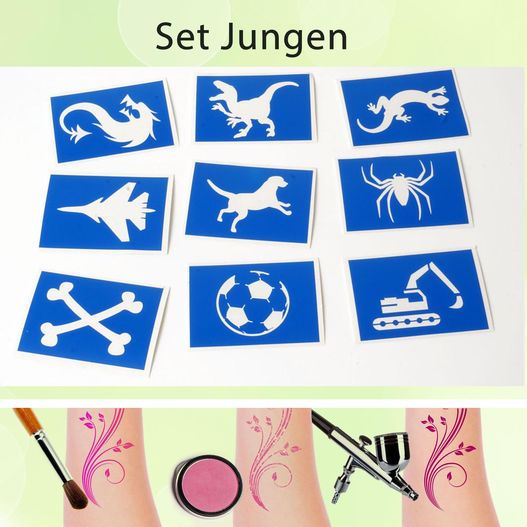 Tattoo Schablonen Set Junge (9 Stück) Selbstklebend Kinderschminken Airbrush