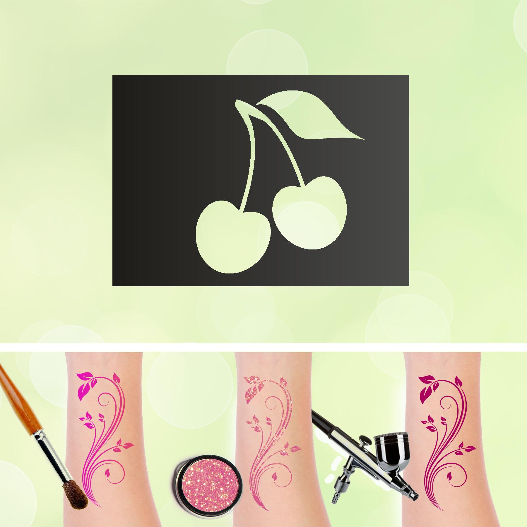 Tattoo Schablonen Kirsche Selbstklebend Kinderschminken Airbrush