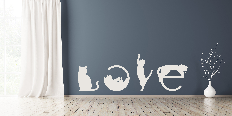 Wandtattoo Aufkleber CAT LOVE in Weiss selbstklebend Deko Wohnzimmer Schlafzimmer