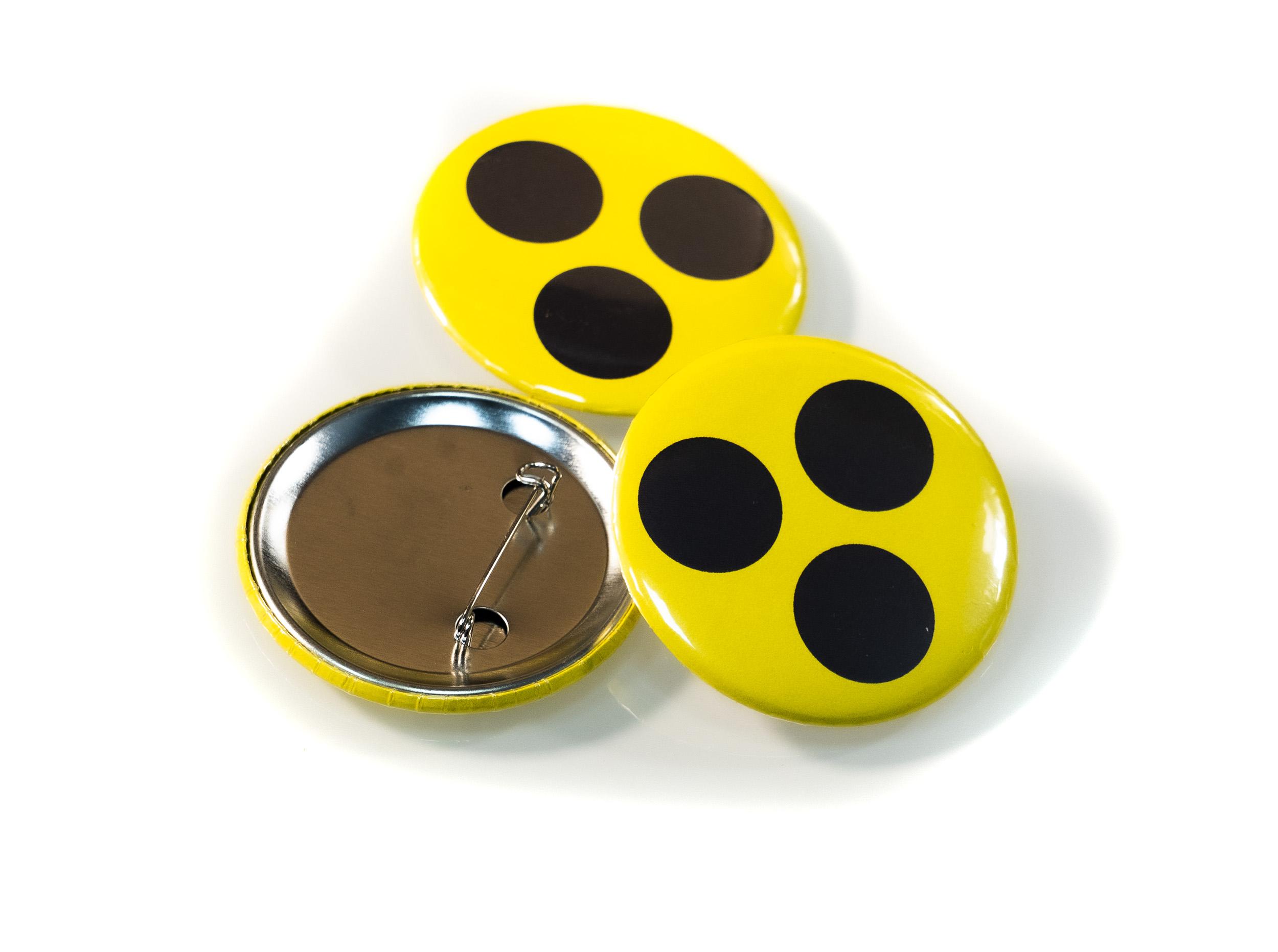 Blindenzeichen - Anstecker 3er Set Blindenplakette Button Neongelb für Blinde und Sehbehinderte Rund Ø ca. 5cm Ansteckpin Nadel