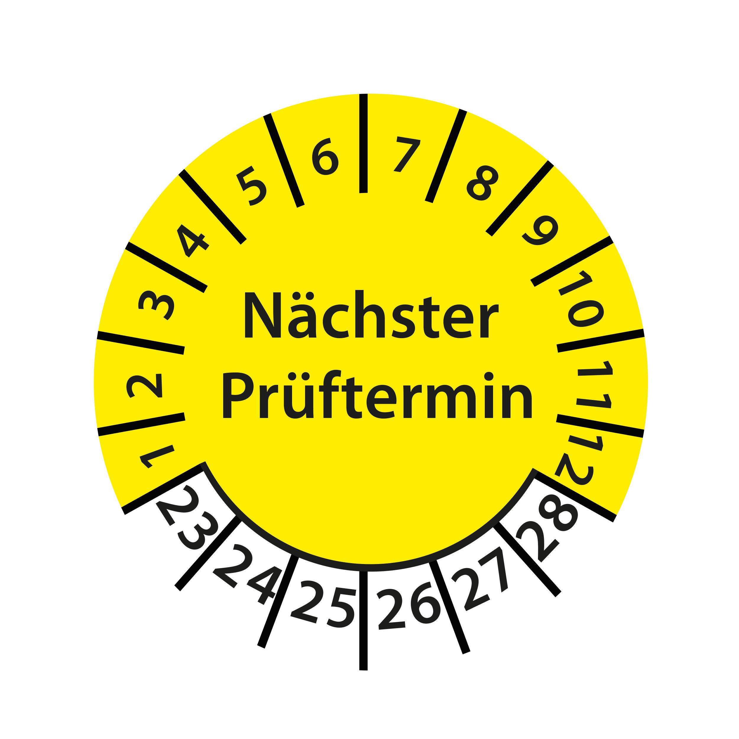 Prüfplakette Nächster Prüftermin 2023-2028 Ø 30mm Rund Gelb / Blau Prüfetikett Prüfaufkleber