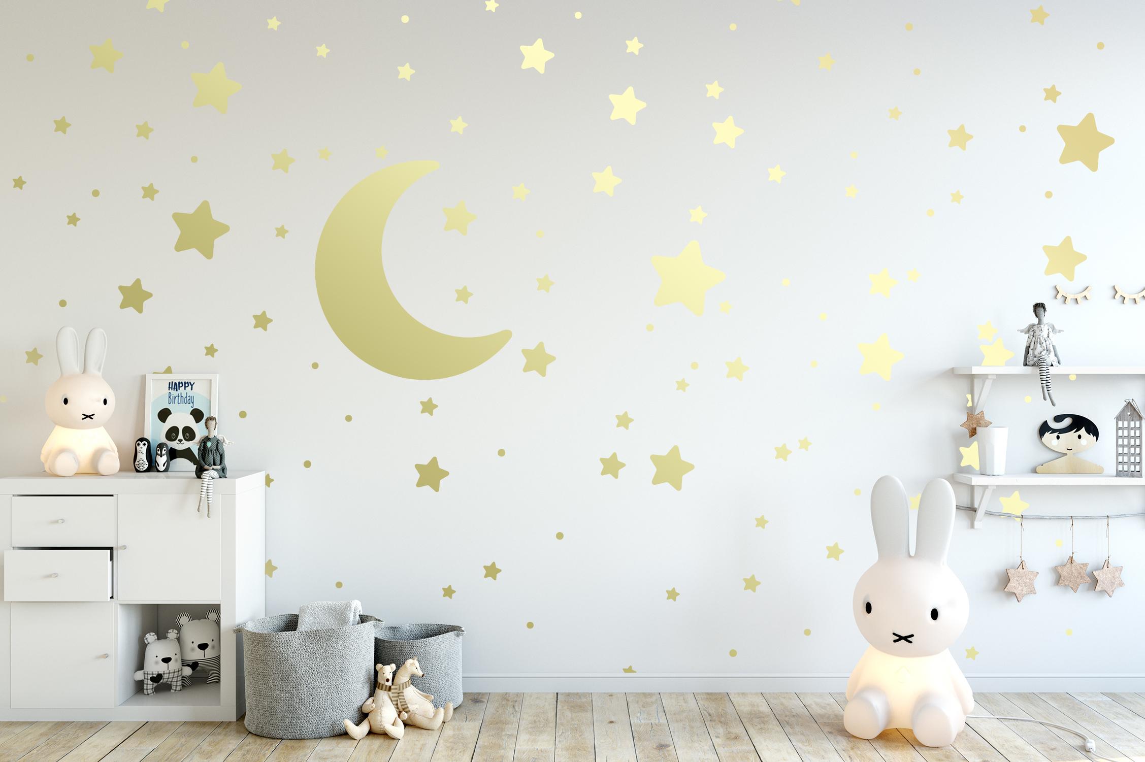 Wandtattoo Aufkleber STERNE MOND PUNKTE MIX selbstklebend in Gold Deko Wohnzimmer Schlafzimmer