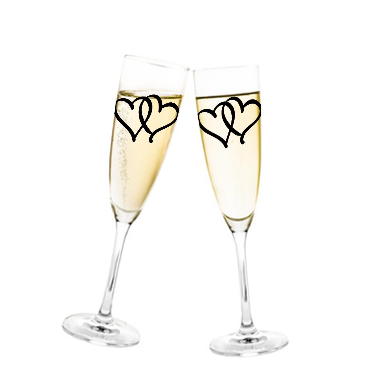 Aufkleber Hochzeit Herzen für Sektglas