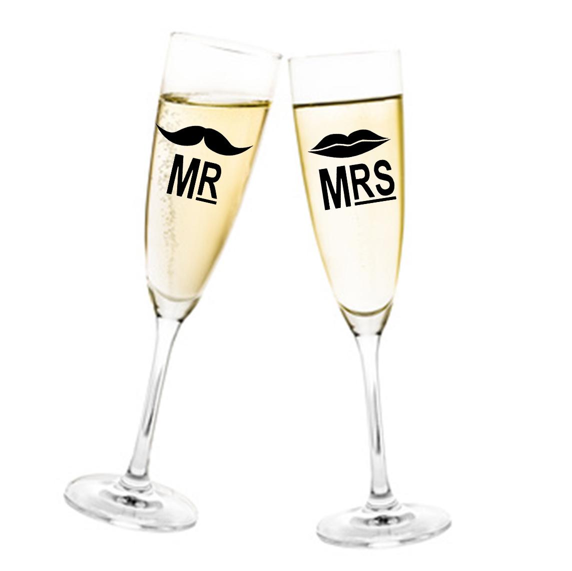 Aufkleber Hochzeit Mr. & Mrs. mit Bart und Mund für Sektglas Glasaufkleber Gläser