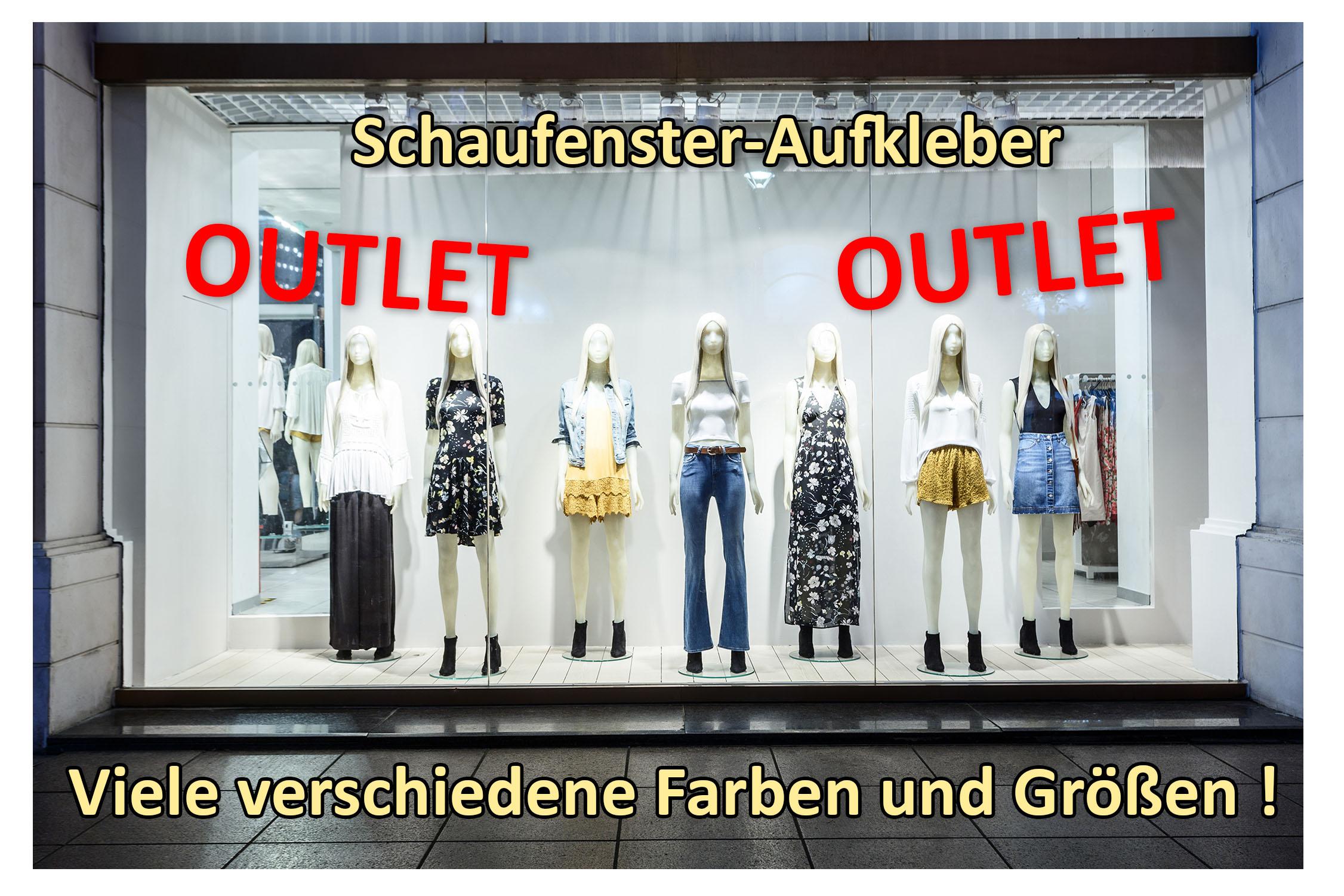 Aufkleber OUTLET ROT 2 Stück verschiedene Größen Einzelhandel Schaufenster Werbung Reduziert