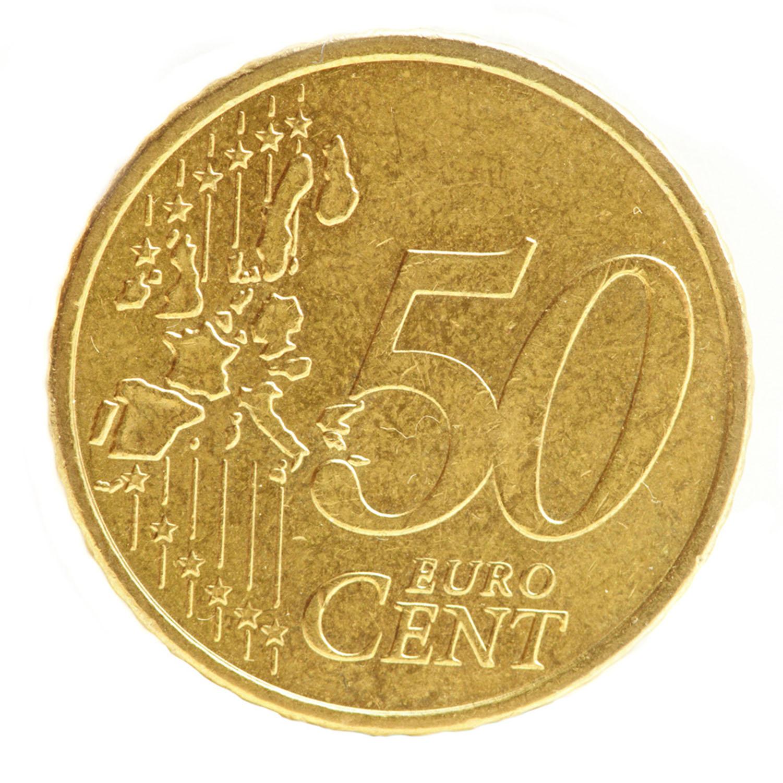 50 Cent Münzaufkleber- FUN Sticker Kleingeld rund ca. Ø 25 mm selbstklebend täuschend echt