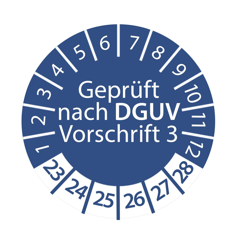Prüfplakette DGUV Vorschrift 3 2023 - 2028 ca. Ø 2-3 cm Blau Geprüft nach DGUV