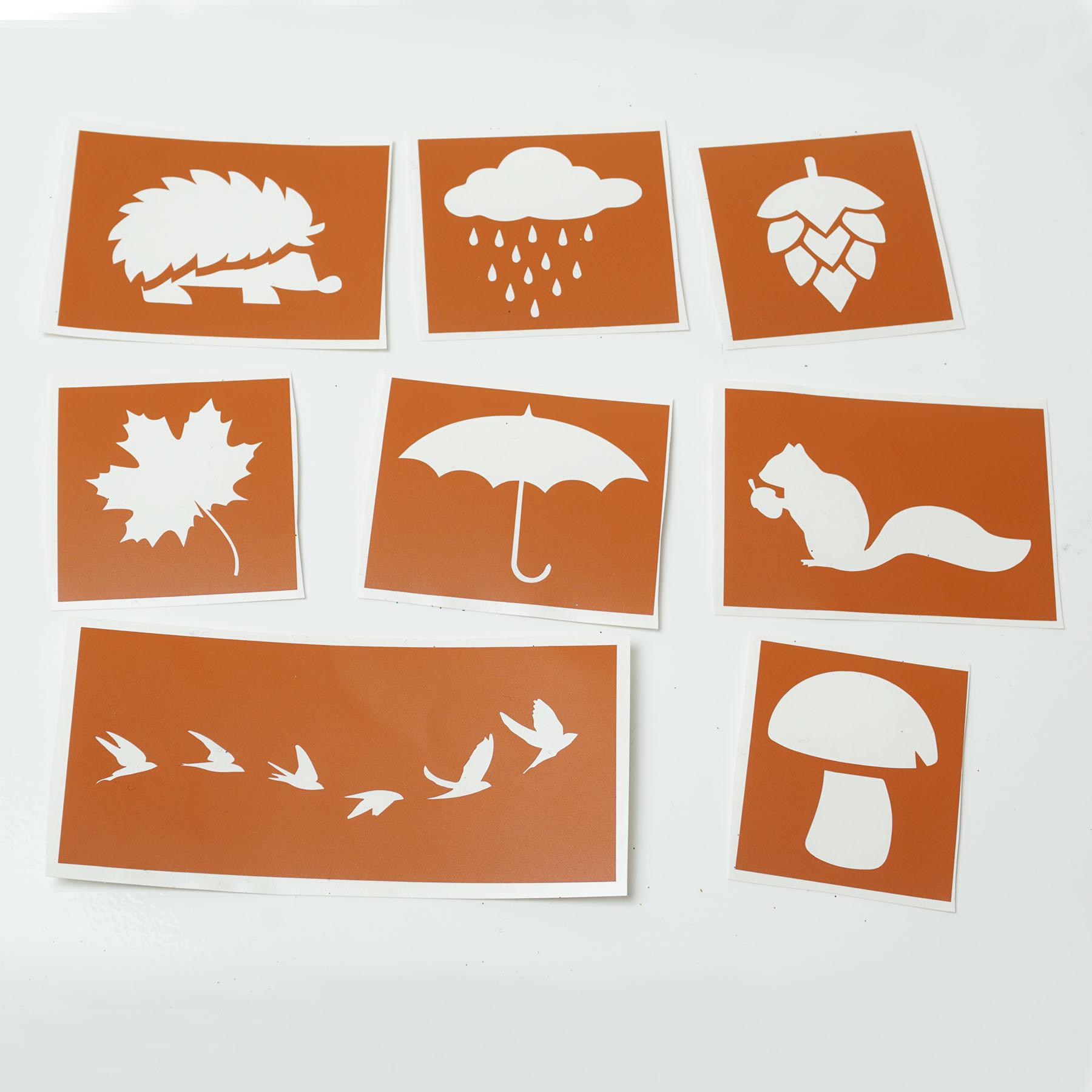 Tattoo Schablonen SET Kinder Herbst/Autumn/Fall (8 Schablonen) Selbstklebend Kinder schminken Airbru