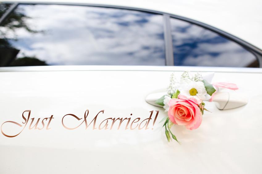 Aufkleber Hochzeit Auto -Just Married!