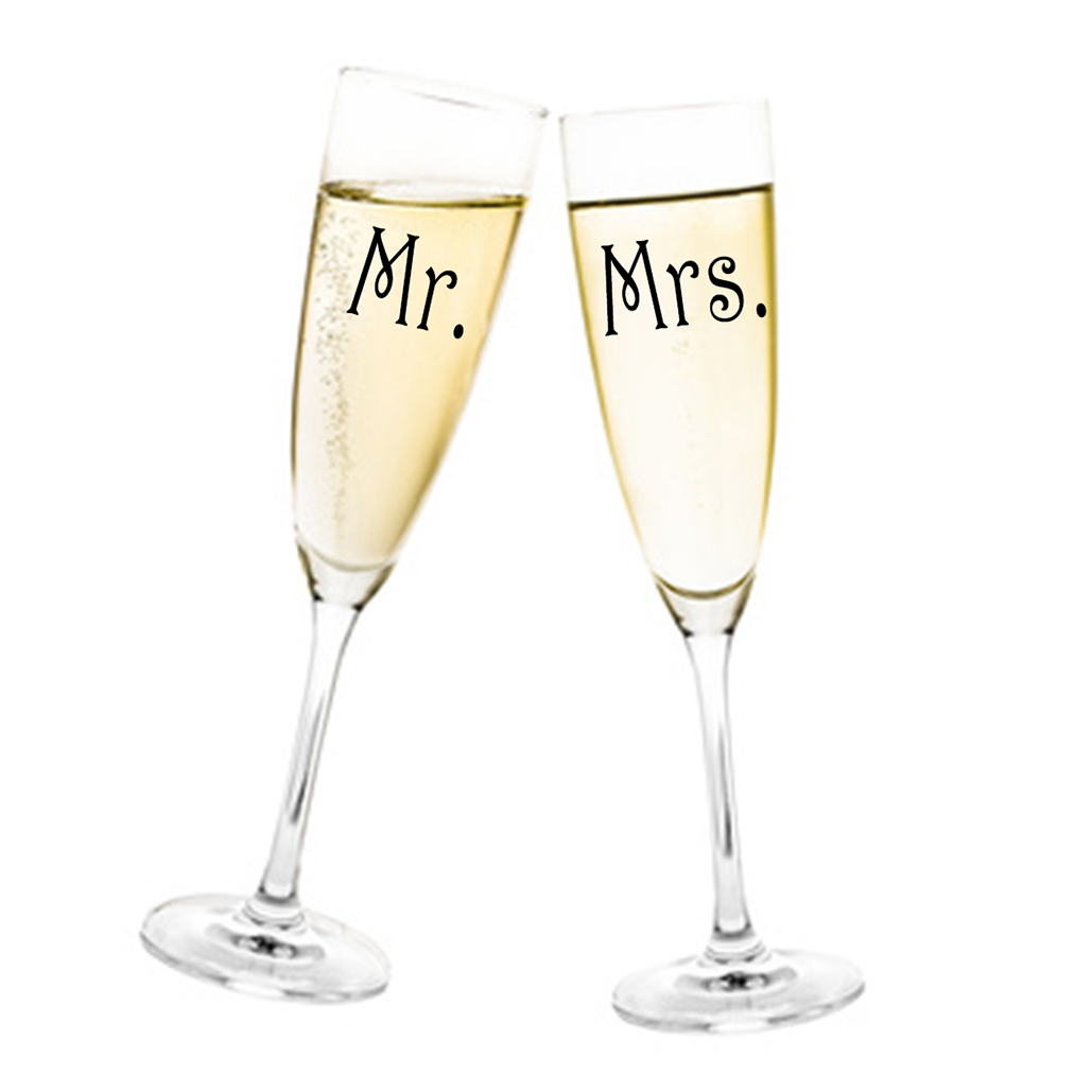 Aufkleber Hochzeit  Mr. & Mrs. für Sektglas Glasaufkleber für Gläser Selbstklebend