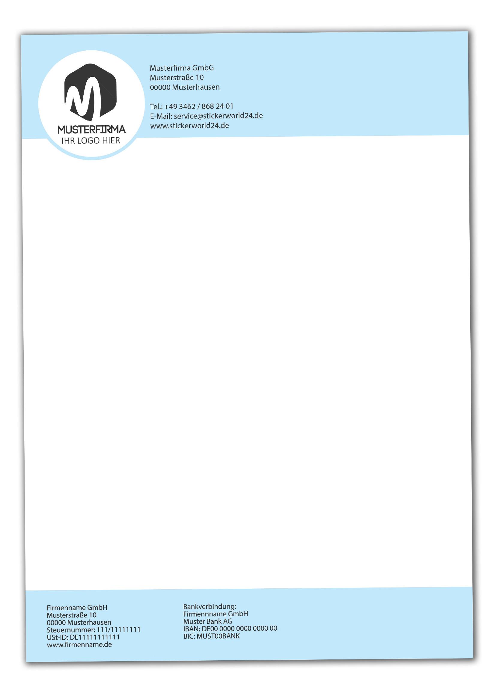 Briefpapier DIN-A4 Fertiges Design+Ihr Inhalt individuell einseitig bedruckt 4/0 Offsetpapier 90g/m²