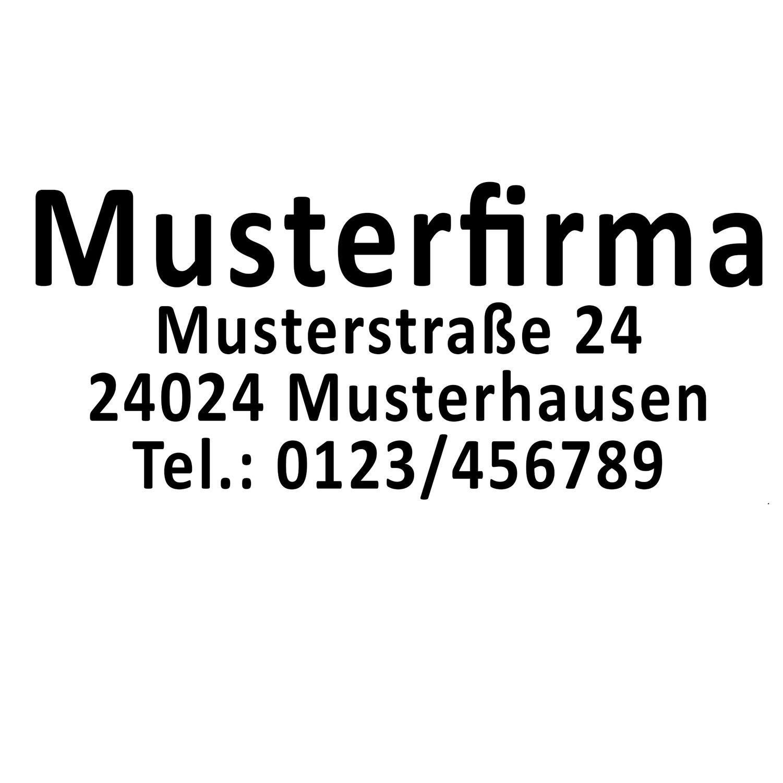 Aufkleber Adresse Anschrift Firma Firmenanschrift V3 mit Telefonnummer Firmenschild Schwarz