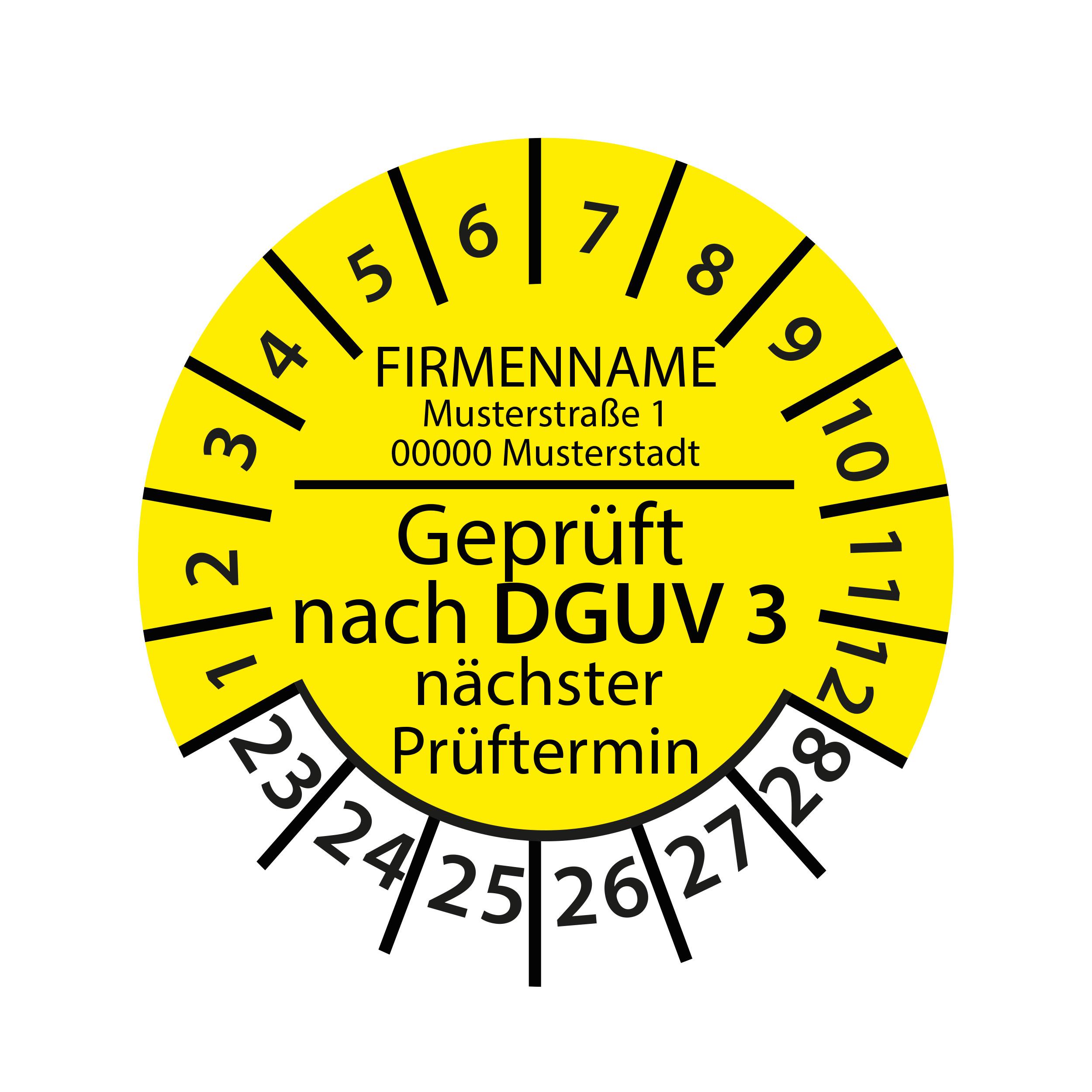 Prüfplakette mit Firmenname - geprüft nach DGUV Vorschrift 3 nächster Prüftermin 2023-2028 Ø 30mm Rund Gelb / Blau
