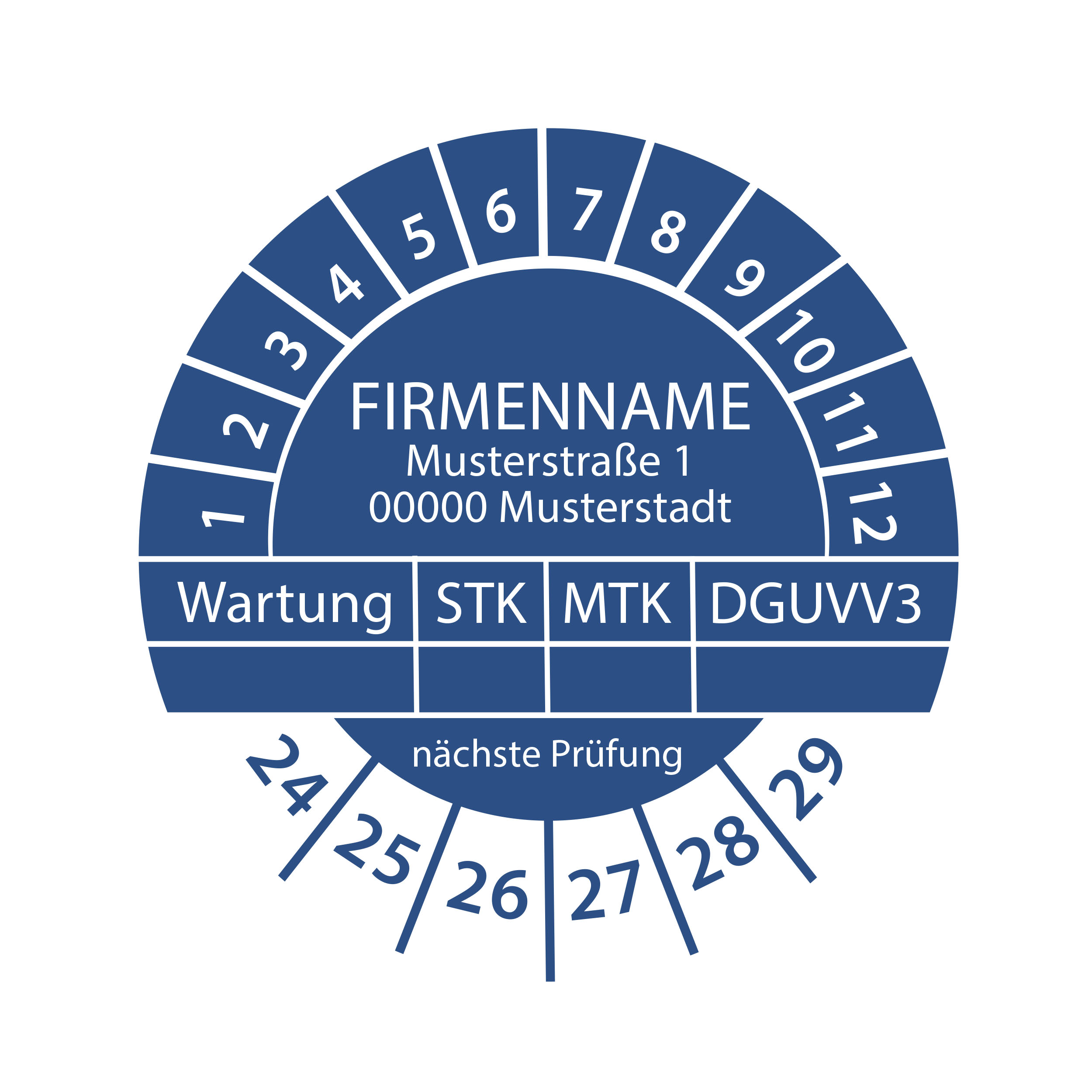 Prüfplakette mit Firmenname - Wartung STK MTK DGUVV3  nächste Prüfung 2024-2029 Ø 30mm Rund Gelb / Blau