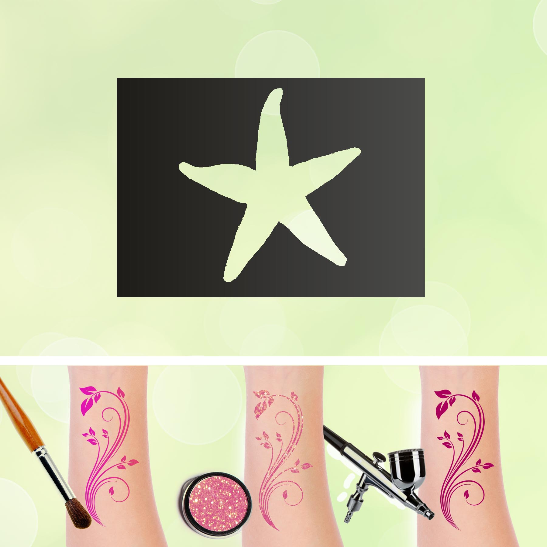 Tattoo Schablonen Seestern Selbstklebend Kinderschminken Airbrush