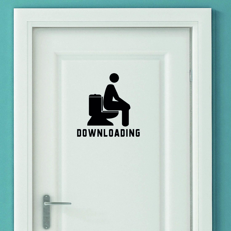 Aufkleber Türaufkleber WC DOWNLOADING Fun Toilette in der Farbe Schwarz oder Wunschfarbe