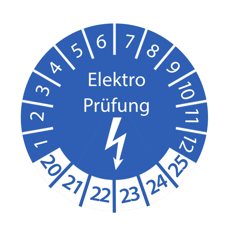 Prüfplakette Elektro Prüfung 2020 - 2025 Ø 30mm Rund Blau Prüfetikett Prüfaufkleber
