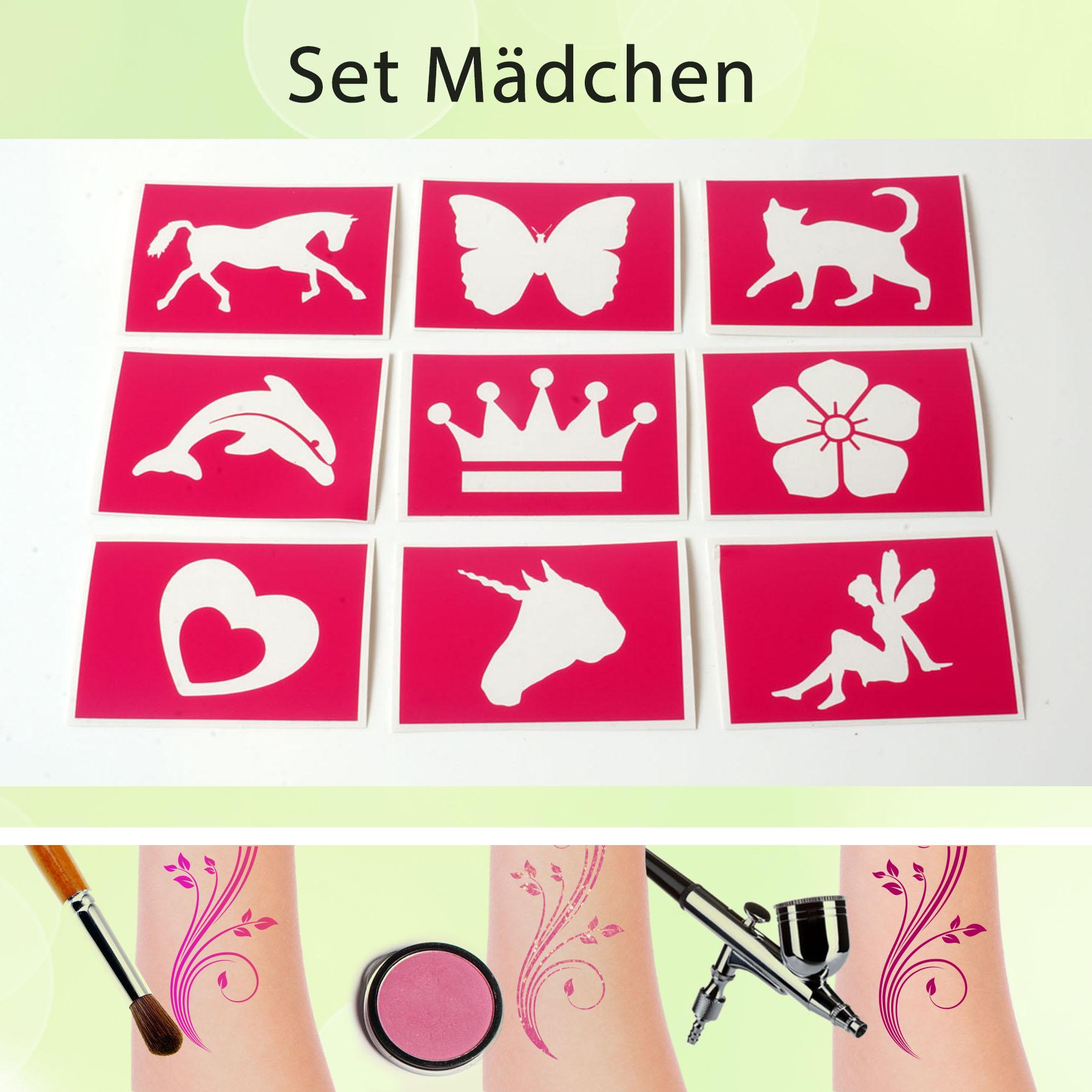 Tattoo Schablonen Set Mädchen (9 Stück) Selbstklebend Kinderschminken Airbrush