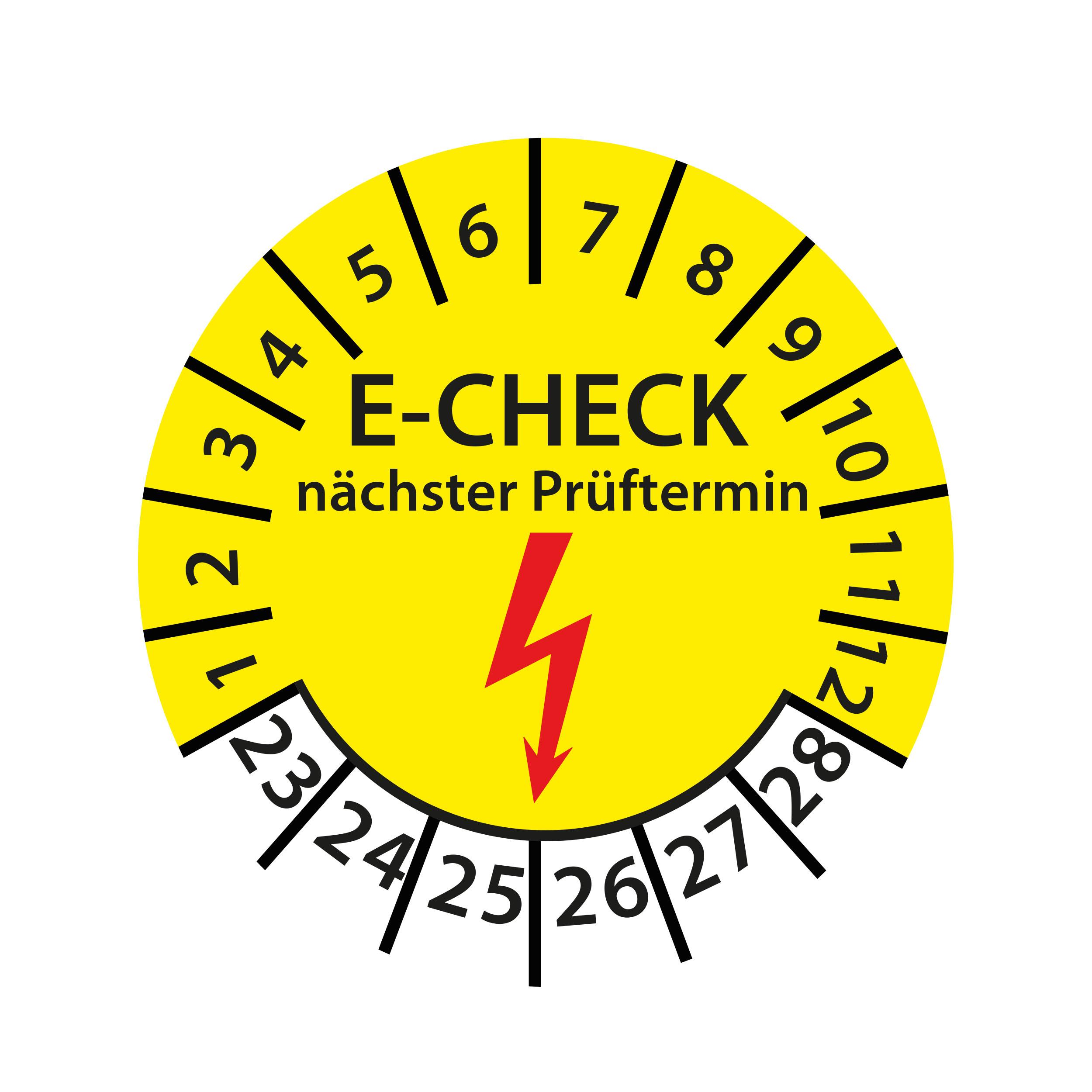 Prüfplakette E-Check Elektro Wartung STK MTK DGUV Vorschrift 3 Nächster Prüftermin geprüft gemäß VDE 2023-2028 Ø 30mm Rund Gelb