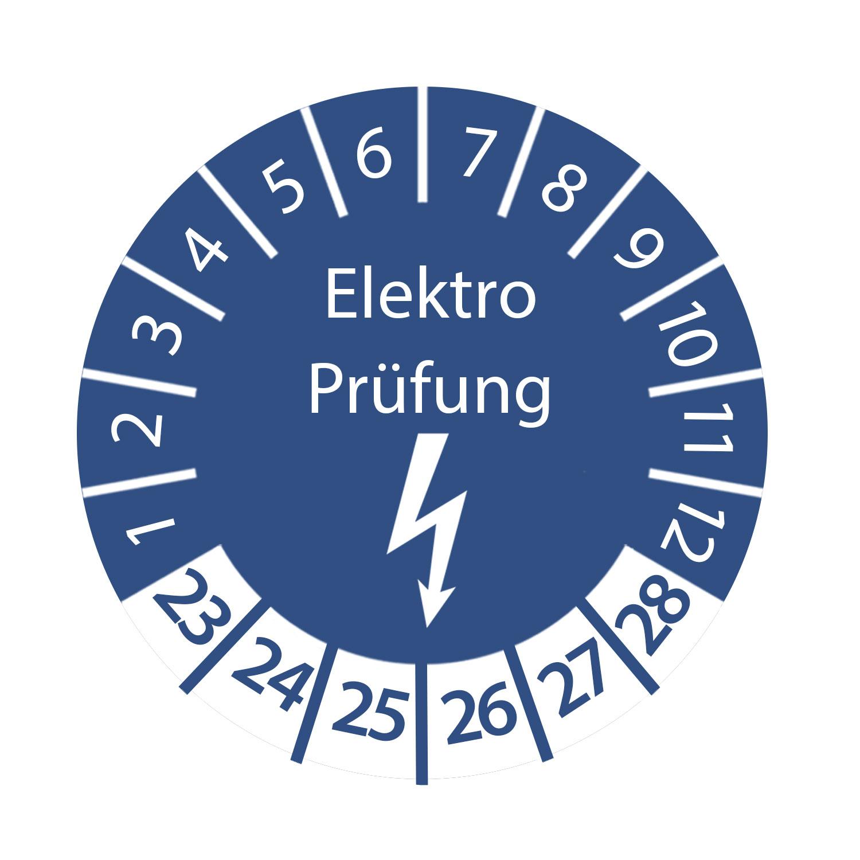 Prüfplakette Elektro Prüfung 2023 - 2028 ca. Ø 2-3 cm Blau