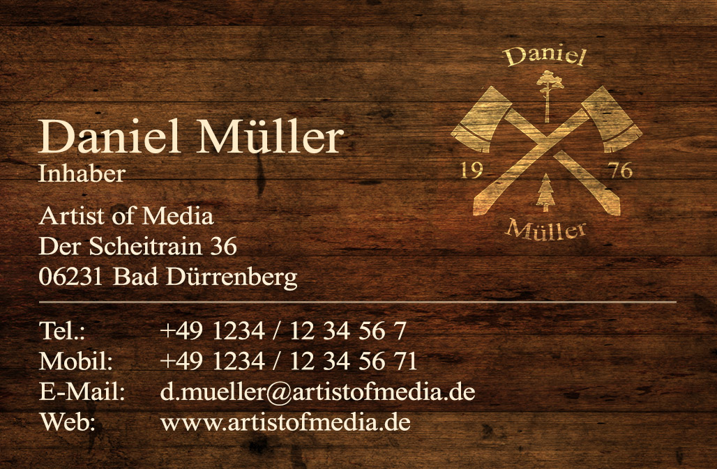 Visitenkarten individuell Fertiges Design Holz + Ihr Inhalt Business Karten 350g/qm 85 x 55mm