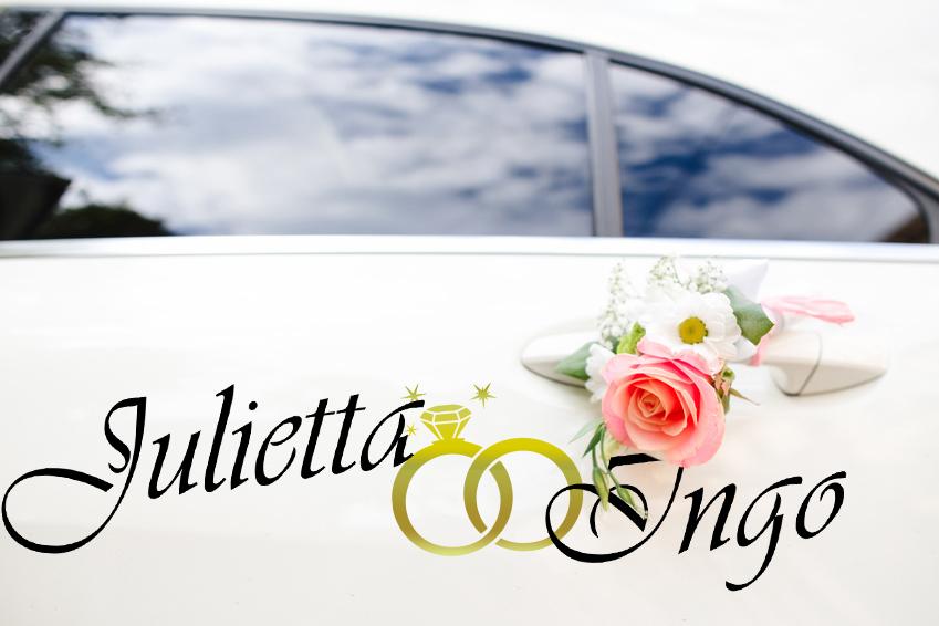 Aufkleber Hochzeit Auto NAME mit RINGEN in Gold