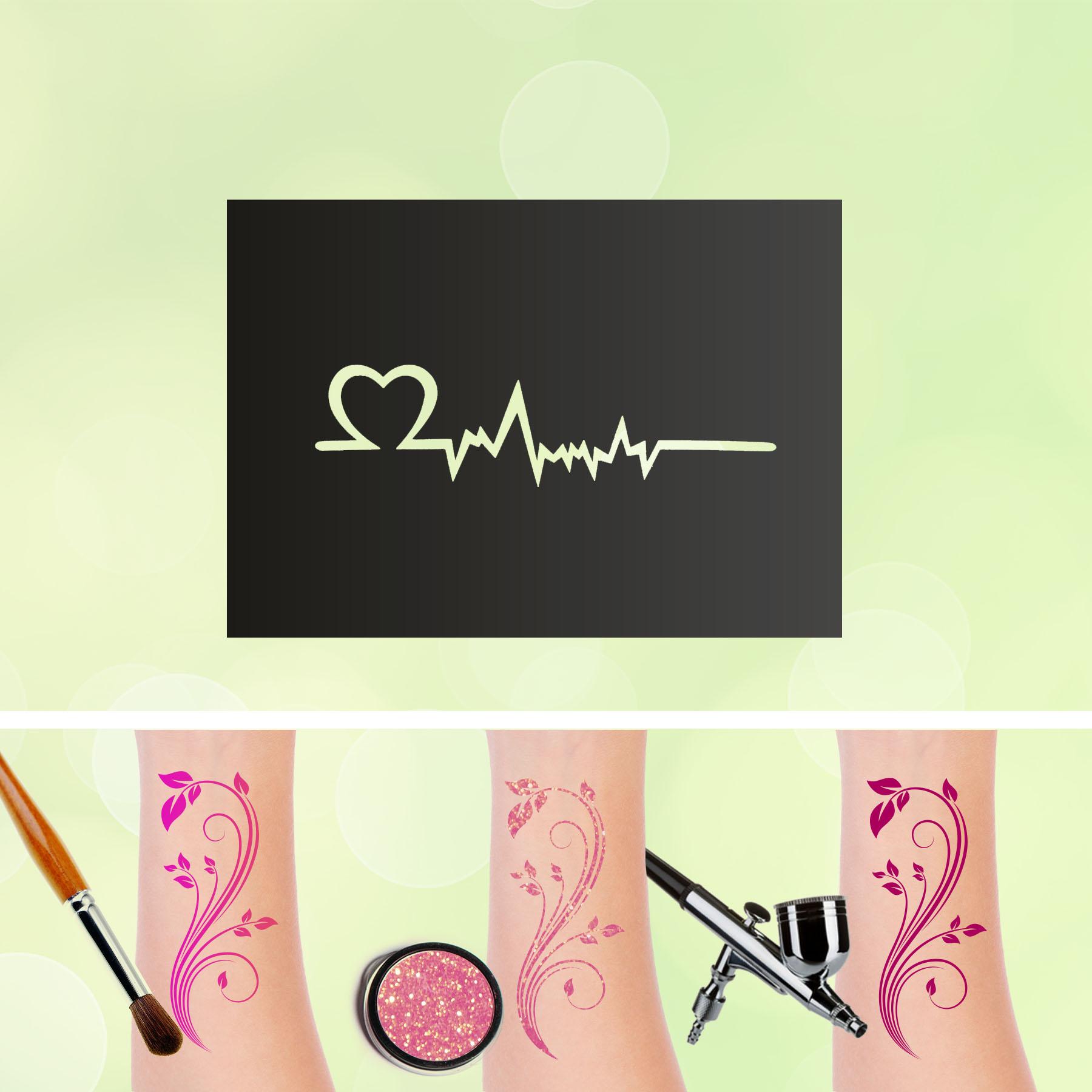 Tattoo Schablonen Herzschlag Selbstklebend Kinderschminken Airbrush