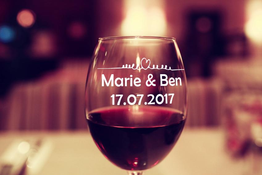 Aufkleber Hochzeit HERZ mit NAMEN für Glas / Weinglas Hochzeitsaufkleber