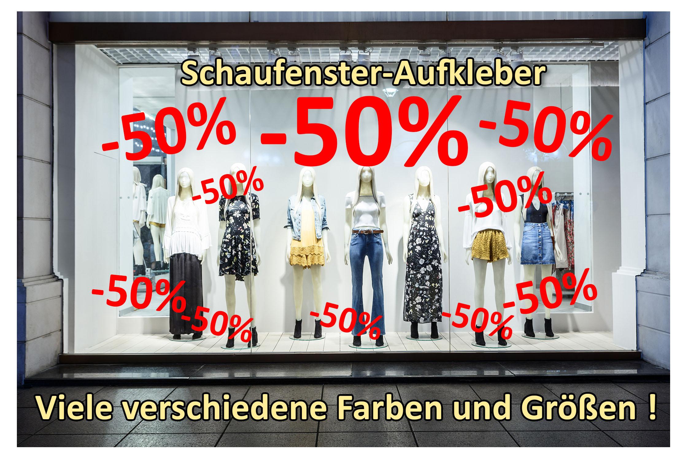 Aufkleber -50% 10er Set Prozent Sale Rabatt Reduziert Schaufenster Preisschild Ausverkauf Rot
